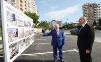 Prezident Yasamalda yeni salınan parkda oldu - FOTOLAR