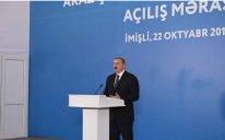 Prezident İmişlidə Araz çayının yeni qol-kanalının açılış mərasimində iştirak edib – FOTO