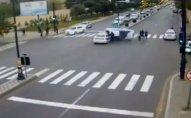 Bakıda ağır qəza: 5 piyadanı və polis maşınını vurdu  -VİDEO