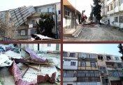 Külək iki binanın damını uçurdu - XAÇMAZDA