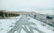 Bakı-Şamaxı yolu buz bağladı - FOTO