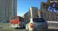 Bakıda avtobus sürücüsü əks istiqamətdə qırmızı işıqdan keçib - VİDEO