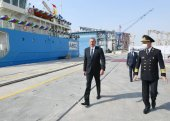İlham Əliyev tankerin istismara verilməsi mərasimində iştirak etdi (FOTOLAR)