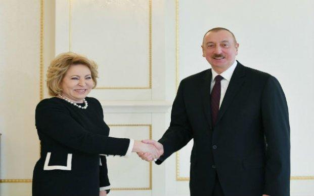 Prezident İlham Əliyev Rusiya Federasiya Şurasının sədrini qəbul edib – FOTO