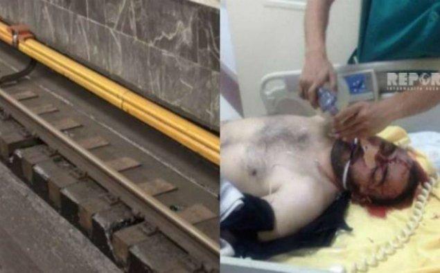 Bakı metrosunda HADİSƏ: sərnişin relslərin üzərinə düşdü - FOTO