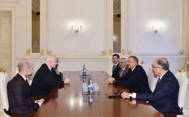 İlham Əliyev FIFA-nın prezidentini və baş katibini qəbul edib