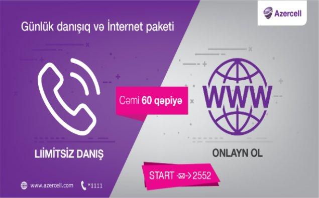"""""""Azercell-dən bölgələr üçün günlük limitsiz danışıq və internet bir təklifdə"""""""