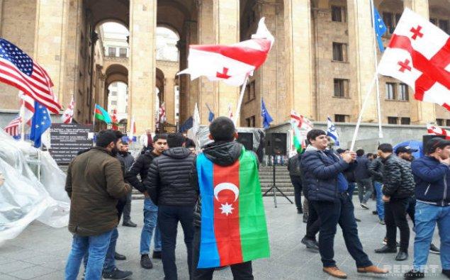 Gürcüstanda azərbaycanlıların və gürcülərin birgə aksiyası başlayıb - FOTO