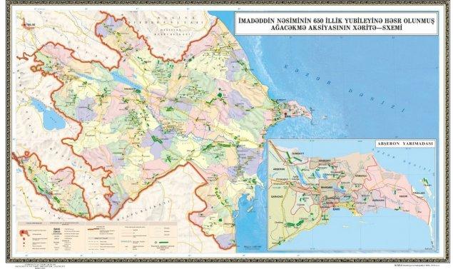 Nəsimi ili ilə bağlı 650 min ağacın əkiləcəyi ərazilərin xəritəsi hazırlanıb