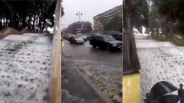"""Bakıda yağış """"şəlalə"""" yaratdı (VİDEO)"""